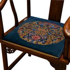 benutzerdefinierte chinesische stickerei glück samt sitzkissen sofa esszimmer stuhl sessel anti slip pad home decor zipper sitzen matten
