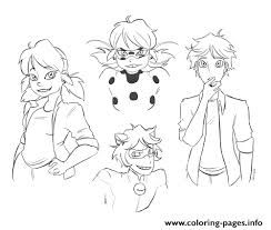 Miraculous Ladybug And Cat Noir Character Coloring Pages