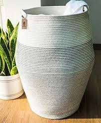 goodpick wäschekorb groß aufbewahrung korb geflochten aus baumwoll für schmuzige kleidung in der waschküche 65cm hoch weiß mit schwarze naht