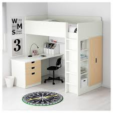 Desk Bunk Bed Combination by Stuva Loft Bed Combo W 3 Drawers 2 Doors White Birch 207x99x193 Cm