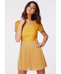 missguided jensine pleated skirt lace skater dress mustard in