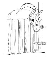 Horse In The Stable Horses Coloring Page