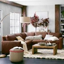 Brown Couch Living Room by Turner Roll Arm Leather 3 Piece L Shaped Sectional Pottery Barn