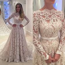discount robe de soiree long sleeves 2017 lace wedding dresses