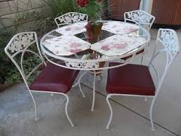 Ebay Chairs And Tables by Cottage Roses Vintage Wrought Iron Round Patio Set Table 4 Chairs