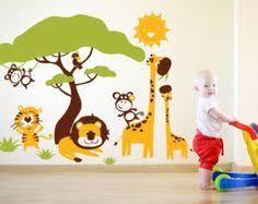 chambre enfant savane stickers singe suspendu achat stickers animaux de la jungle pour