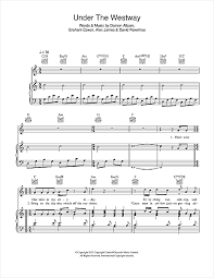 sinking piano easy the westway sheet by blur piano vocal guitar