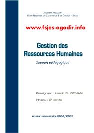bureau des ressources humaines la gestion des ressources humaines cours pdf