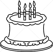 Birthday cake black and white clipart collection