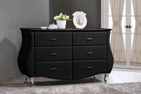 baxton studio enzo black faux leather 6 drawer dresser goedekers com