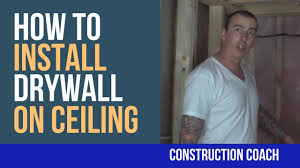 Installing Drywall On Ceiling In Basement by How To Install Drywall On Ceiling Diy Youtube