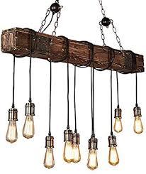 retro pendelleuchte esstisch aus holz vintage industrial design kronleuchter höhenverstellbar e27 10 flammig deckenleuchte hängele für büro