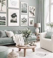 stylische bilderwand mintgrünes wohnzimmer illustrationen