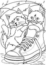 Two Cute Cats In A Shoe Color Page Free Printable Coloring Sheets