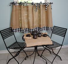 Burlap And Gingham Cafe Curtains 4000 Via Etsy