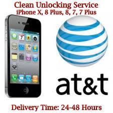 AT&T USA iPhone X 8 Plus 8 7 Plus 7 Clean Unlock Service