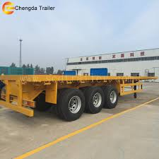 40 Ton Truck And Trailer 3 Axle 40ft Container Flatbed Semi Trailer ...