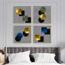 schwarz und weiß streifen goldene türkis blau geometrie abstrakte wand poster leinwand malerei für wohnzimmer schlafzimmer dekoration