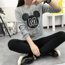 Aliexpress Buy Womens T Shirt O Neck Long Sleeved Mickey