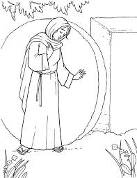 An Illustration Of Mary Standing And Weeping By The Open Tomb Where Christ Was Laid