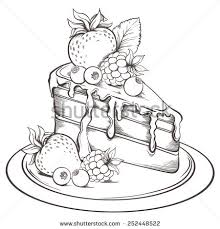 Hand drawn slice of Cake with icing and Berry Sketch Vector illustration