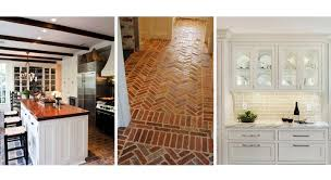 brick floor white kitchen cabinets