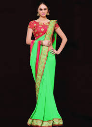 green and pink floral embroidered floral saree
