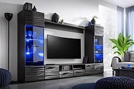 kryspol wohnwand modica anbauwand wohnzimmer set modern design schwarz korpus glanz fronten