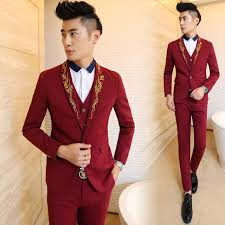 Fashion Gold Embroidery Red Mens Party Tuxedos Groomsmen Wedding Prom Suits 2017 Tailor Made Notach Lapel