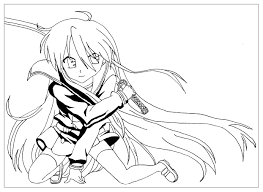 Original Manga Coloring Page The Saber Warrior Girl
