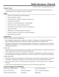 Sturgeon Community Pharmacist Resume Cv Example