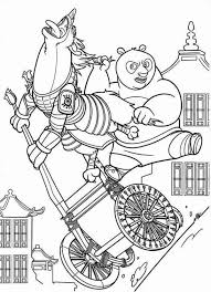 Kung Fu Panda Po On Cart Chasing Enemy In Coloring Page