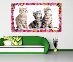 3d wandtattoo katze baby kätzchen tier katzen blumen rahmen wandbild wohnzimmer wand aufkleber 11l1029 3dwandtattoo24 de