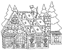 Merry Christmas House Coloring Pages For Kids 300x250