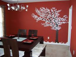 Dining Room Wall Decor Ideas Displaying With Red Color Tree Painting Of Completed Pendant Lamps And Furnished