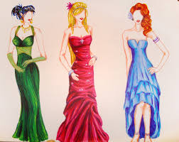Colored Prom Dress Sketches By Raelea