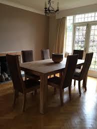 Fabulous John Lewis Batamba Large Dining Table 6 Suede Chairs 190cm X 100cm Indian Teak