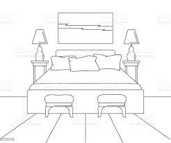 lineare skizze des innenraumes skizzieren sie linie schlafzimmer bett zwei stühle zwei len und ein bild über dem bett vektorillustration stock