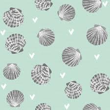 100 Sea Shell Design Seashells Fabric Girls Mermaid Sea Shell Design Mint And Grey