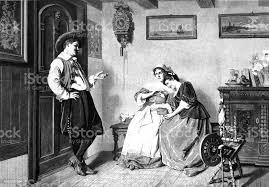im wohnzimmer mann flirtet mit zwei frauen stock vektor und mehr bilder 1890 1899