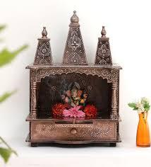 Solid Wood Hand Made Pooja Mandir In Multicolour By Shreenath Handicraft