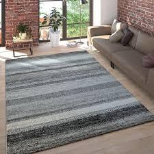kurzflor teppich meliert gestreift anthrazit beige