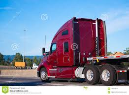 100 Semi Truck Pictures Big Rig Dark Red Tractor Driving With Flat Bed Trailer On