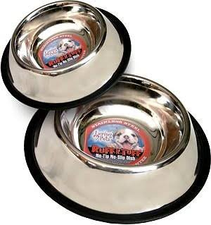 Loving Pets Stainless Steel No Tip Pet Bowl, 8-oz