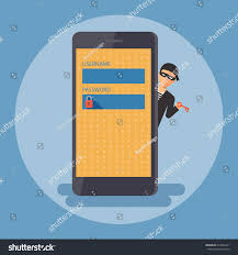 Cyber Thief Hacker Holding Key Waiting Stock Vector