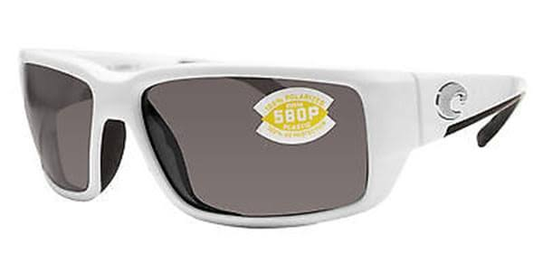 Costa Del Mar Fantail White Square Polarized Sunglasses - Gray Lens