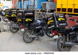 PizzaHut Delivery Shop Pizza Hut Bikes Standing In Row