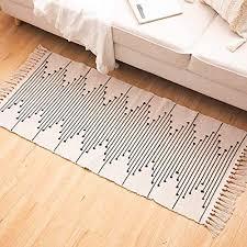 hi home teppich für wohnzimmer boho baumwolle gewebte teppiche waschbar badteppich läufer mit quasten für schlafzimmer eingangstür küche badezimmer
