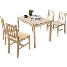 wohnling esszimmer set emil 5 teilig kiefer holz landhaus stil 108 x 73 x 65 cm natur essgruppe 1 tisch 4 stühle tischgruppe esstischset 4