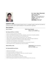 General Dentist Resumes Dr Saira Cv